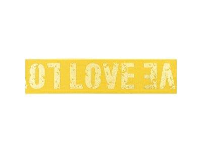 Gummiband mit Foliendruck ca. 40 mm - Love - ocker/goldfarben