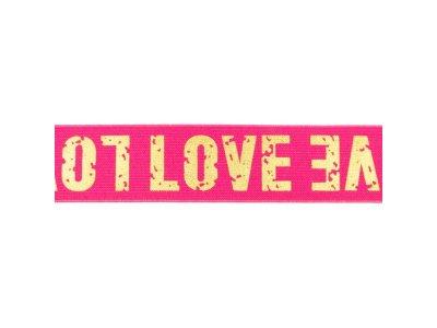 Gummiband mit Foliendruck ca. 40 mm - Love - pink/goldfarben