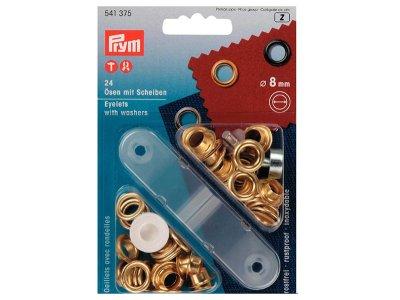 Prym Ösen und Scheiben 8mm 24 Stück für Bänder goldfarben