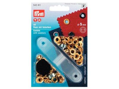 Prym Ösen und Scheiben 5mm 40 Stück für Bänder goldfarben