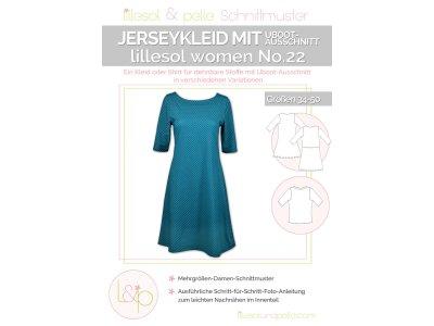 Papierschnittmuster lillesol women No.22 Jerseykleid mit Uboot-Ausschnitt