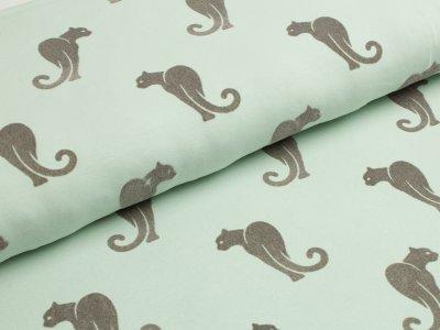 Jersey mit Flockprint Druck Leopard mint