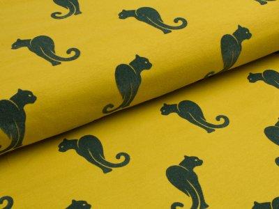 Jersey mit Flockprint Druck Leopard senfgelb