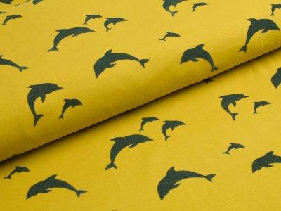 Jersey mit Flockprint Druck Delfine senfgelb
