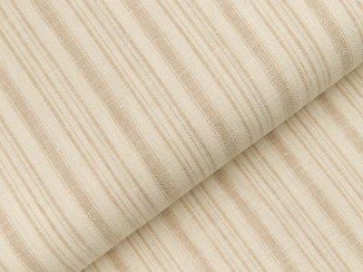 Gewebter Halbleinenstoff - Querstreifen - beige