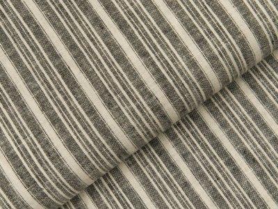 Gewebter Halbleinenstoff - Querstreifen - grau/wollweiß