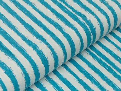 Jersey - Pinselstriche - längs gestreift - blau/weiß