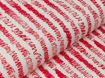 Jersey - Kritzelstriche - längs gestreift - rot/weiß