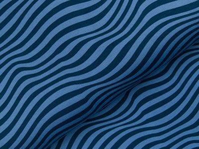 Sweat French Terry - Wellenlinien - blau