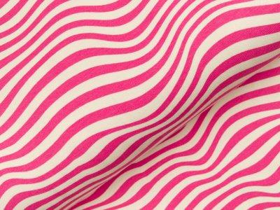 Sweat French Terry - Wellenlinien - rosa/weiß