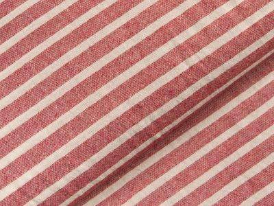 Gewebter Baumwollstoff - breite Streifen - rot/weiß