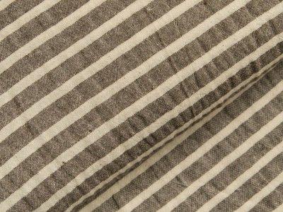 Gewebter Baumwollstoff - breite Streifen - braun/weiß