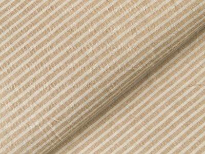 Gewebter Baumwollstoff - schmale Streifen - beige/weiß