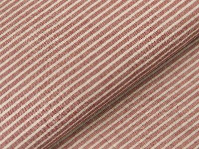 Gewebter Baumwollstoff - schmale Streifen - bordeaux/weiß