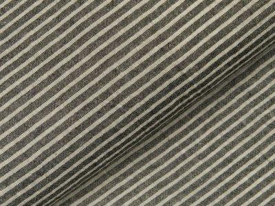 Gewebter Baumwollstoff - schmale Streifen - schwarz/weiß