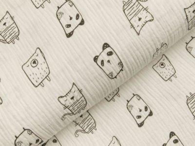Musselin Double Gauze - verschiedene kritzel Katzen - weiß