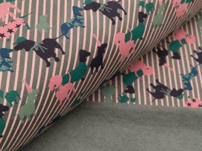 Leicht angerauter Sweat -  süße Dackel auf diagonalen Streifen - grau/rosa