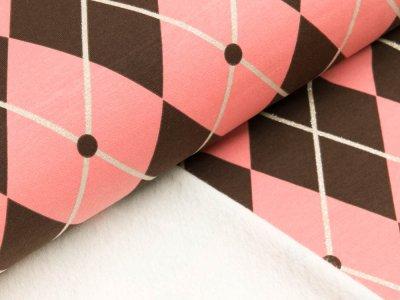 Leicht angerauter Sweat by Mies&Moos mit Glitzer - Rautenmuster - rosa/braun