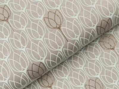 Viskose Jersey - Tulpen mit Glitzer - grau/mint
