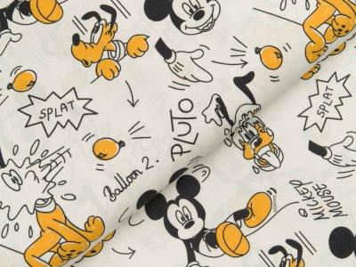 Disney-Popeline Baumwolle - Micky Mouse Wasserschlacht - weiß