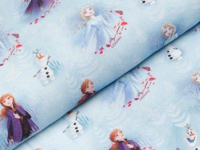Gewebte Baumwolle Disney-Frozen - Anna und Elsa mit Olaf im Herbstgestöber - helles blau