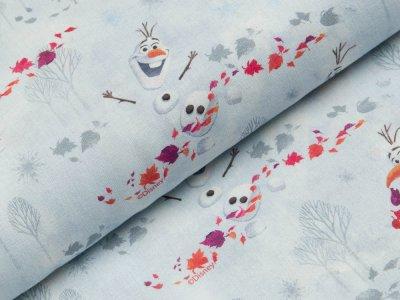 Gewebte Baumwolle Disney-Frozen - Olaf im Herbstgestöber - weiß/grau