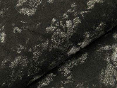 Sweat French Terry - Blüten auf Batik - schwarz