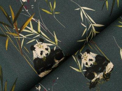 Gewebter Baumwollstoff - Pandas im Bambusgras - jeansblau