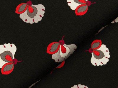 Viskose Jersey - Blüten - schwarz