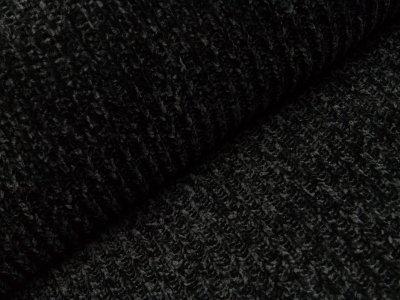 Chenille Strickstoff - Rippstrick - schwarz