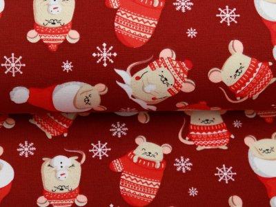 Jersey - Weihnachtsmäuse - dunkles rot