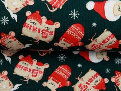 Jersey - Weihnachtsmäuse - tannengrün