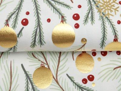 Jersey mit Foliendruck - Weihnachtliche  Tannenzweige - wollweiß