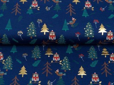 Jersey mit Foliendruck - Weihnachtseulen und Tannenbäume - dunkles blau