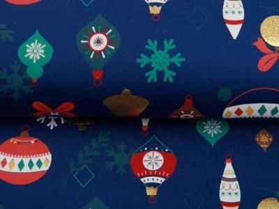 Jersey mit Foliendruck - Weihnachtskugeln - marine