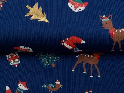 Jersey mit Foliendruck - Weihnachtliche Waldtiere und Tannenbäume - marine