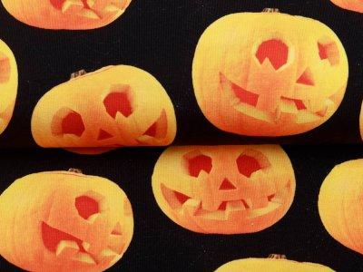 Jersey Digitaldruck Halloween - gruselige Kürbisse - schwarz