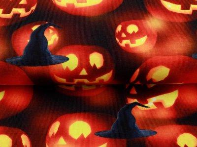 Jersey Digitaldruck Halloween - leuchtente Kürbisse - schwarz