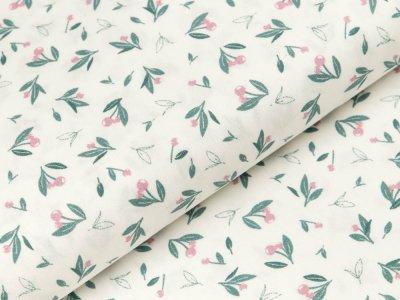 Baumwolle Popeline - Kirschen - wollweiß/dunkles grün