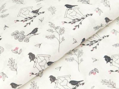 Baumwolle Popeline - Vögel und Blätter - grau/wollweiß