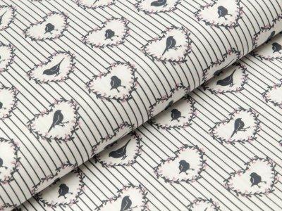 Baumwolle Popeline - Vögel und Streifen - wollweiß