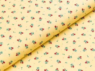 Baumwolle Popeline - Rosen - gelb