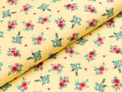 Baumwolle Popeline - Blumen - gelb