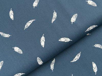 Popeline Baumwolle - Federn - jeansblau