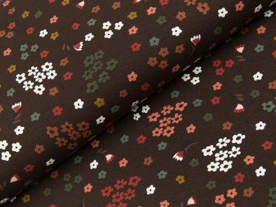 Jersey - kleine Blüten - braun-wollweiß