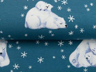 Jersey - Eisbären und Eiskristalle - altblau