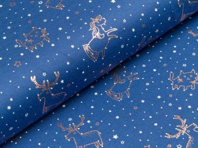 Baumwolle Popeline mit Foliendruck - verschiedene Tiere und Sterne - blau