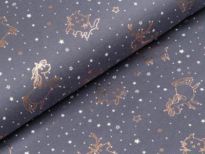 Baumwolle Popeline mit Foliendruck - verschiedene Tiere und Sterne - anthrazit