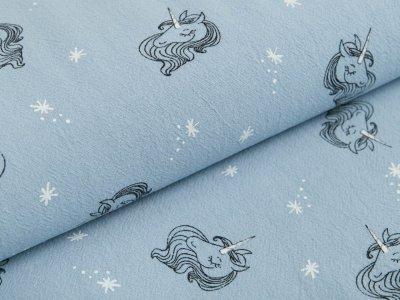 Gewebter Baumwollstoff Jenny - Einhorngesichter und Sterne - blau