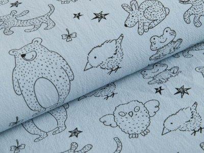 Gewebter Baumwollstoff Jenny - verschiedene Waldtiere und Sterne - blau